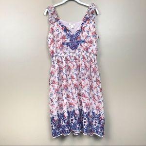Sundance 100% silk floral sleeveless midi dress L